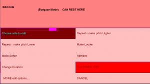 E-Scape Edit menu (eyegaze)